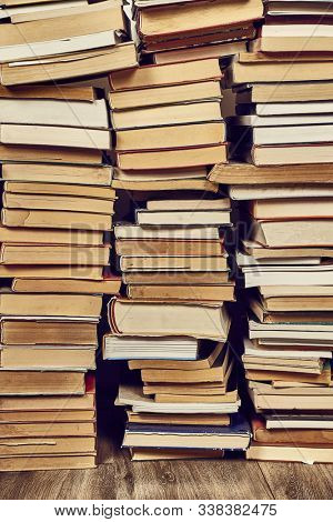 Pile of book with in the attic