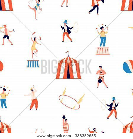 Circus Seamless Pattern. Freak Show Vector Background. Clown And Magician, Juggler And Balancer And