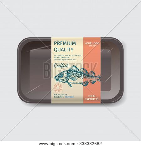 Packaging For Seafood. Label For Boxing Natural Products. Codfish.