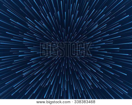 Warp Stars. Fast Movement, Hyperspace Moving Stars In Gravitational Field, Space Traveling Tunnel. F