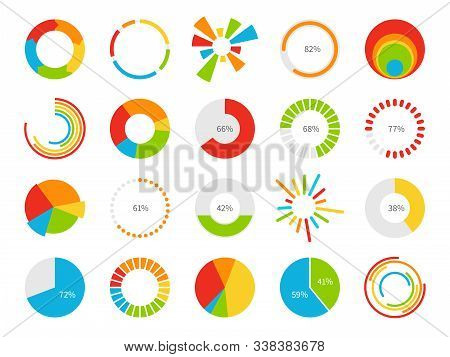 Pie Charts. Graphic Segmentation Information Circles, Percentage Statistic Market, Circular Diagram