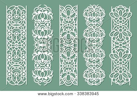 Lace Borders. Seamless Ornamental Panels With Floral Pattern, Cotton Lace Frames, Decorative Stripe