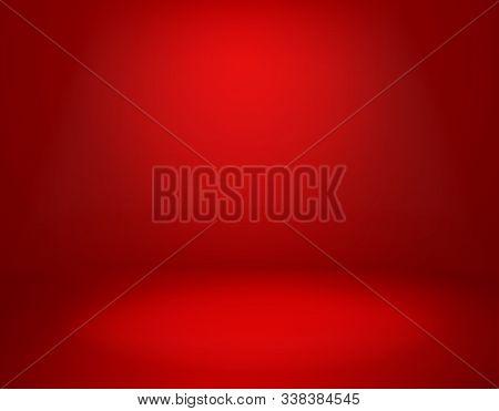 Red Studio Background. Empty Vivid Red Color Studio Room, Modern Interior Wall. Advertisement Banner