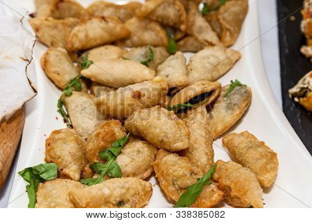 Beautifully Decorated Appetizers For The Catering Banquet Table.catering For Events Snacks For Buffe