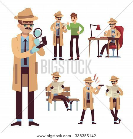 Police Detective Set. Inspector Or Investigator In Hat With Spying Equipment And Newspaper Search Ve