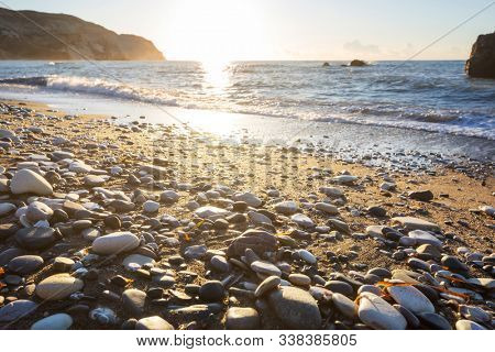 Beautiful sea shore in Cyprus at sunrise
