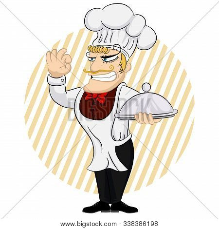 Nice Chef Serving The Dish. Chef Cook Serving Food. Cute Cartoon Character Cooks In Uniform And Hold