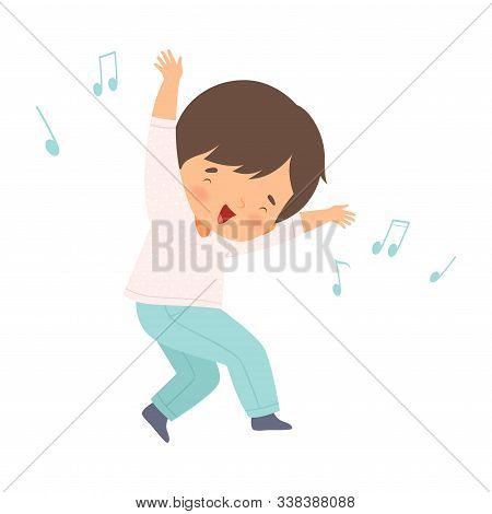 Brunette Boy Singing And Dancing, Adorable Kid Having Fun And Enjoying Listening To Music Cartoon Ve