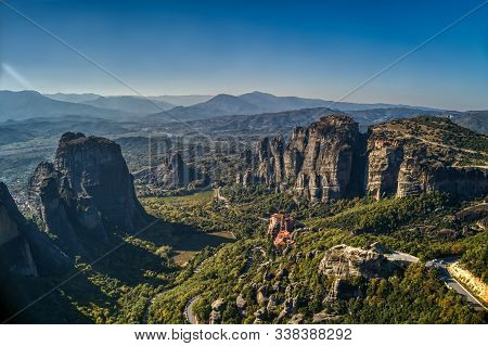 Aerial View From The Monastery Rousanou In Meteora, Greece