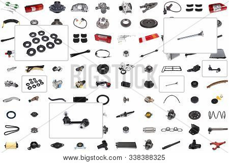 Collage Of Various Auto Parts For Cars And Trucks With An Emphasis On Three Parts: Valve, Suspension