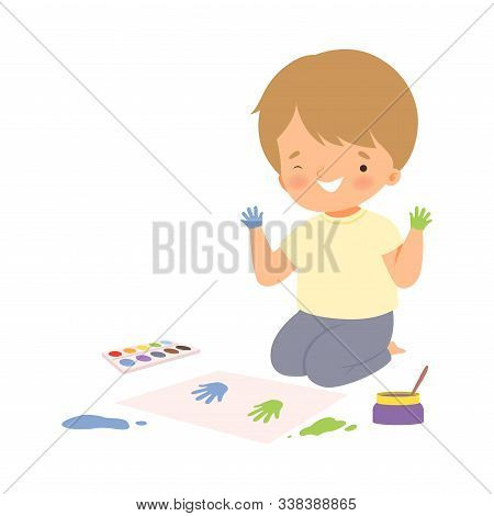 Cute Boy Sitting On The Floor Painting With Colorful Handprints, Adorable Young Artist Cartoon Chara