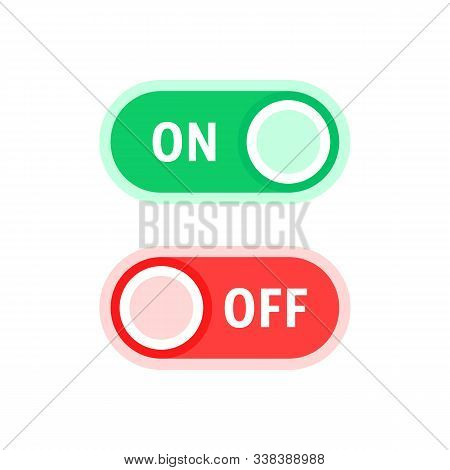 Red And Green On And Off Switches. Flat Style Trend Modern Simple Graphic Art Design Isolated On Whi