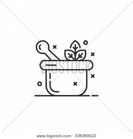 Healthy Mortar With Pestle Thin Line Logo. Flat Simple Style Trend Modern Logotype Lineart Graphic A