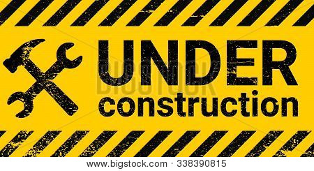 Under Construction Site Banner Sign Vector Black And Yellow Diagonal Stripes Under Construction, Ham