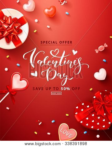 Valentines Day Sale Vertical Background With Gift Boxes, Hearts, Lollipop, Cookies, Marshmallows And