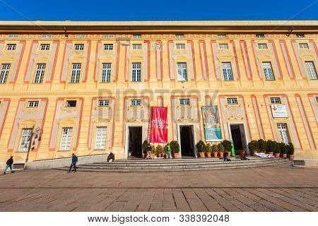 Genoa, Italy - April 08, 2019: The Doges Palace Or Palazzo Ducale Is A Historical Building At The Pi