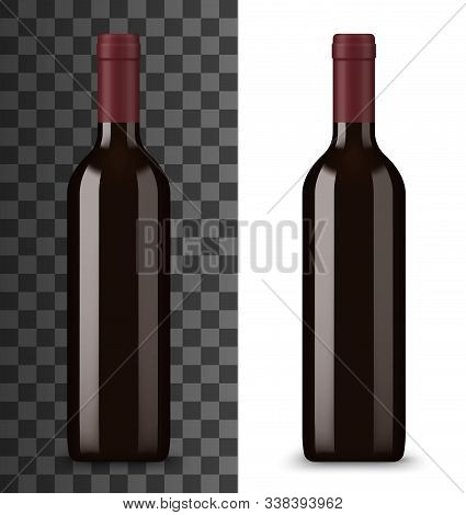 Bottle Of Red Wine Isolated On White And Transparent. Vector Alcohol Drink In Glass Bottle Without L