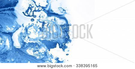 Colorful Acrylic Abstract Painting On Isolated White Background. Classic Blue  2020 Color Official.