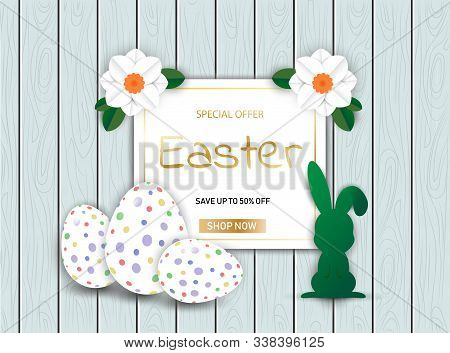Easter Bunny with eggs on wooden sale background vector illustration EPS 10. Happy Easter, easter bunny, easter background, easter banners, easter flyer, easter design,easter with flowers on wooden background, Copy space text area, vector illustration.