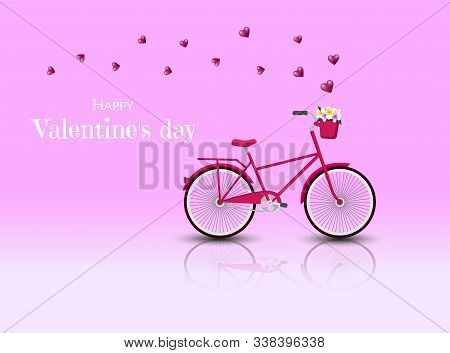 Valentines day greeting card. Red Bicycle with hearts for Valentines day vector. Valentine, valentine day, Valentines Day background, Valentine's day banners, Valentines Day flyer, Valentines Day design, Valentines Day with Heart on pink background, Copy