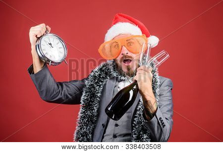 Time Celebrate Winter Holiday. Boss Santa Hat Celebrate New Year Or Christmas. Christmas Party Invit