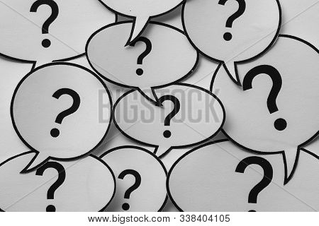Full Frame Background Of Speech Bubbles With Question Marks