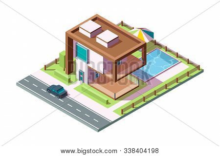 Modern Private House. Luxury Building Residential Exterior With Grass Car Pool Vector Isometric Home