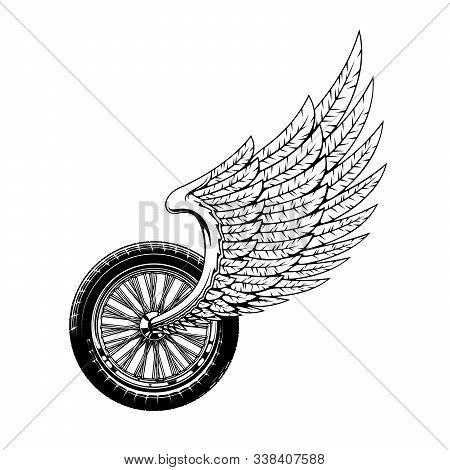 Wheel And Wing Isolated Monochrome Bikers Club Icon. Vector Winged Wheel Race Symbol Or Rockers Mono
