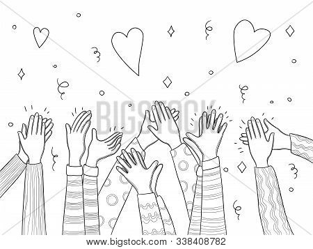 Applause Hands. Crowd People Handed Applause Fun Vector Sketch Doodles Collection. Illustration Crow
