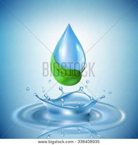 Water Drops. Transparent Splashes Wasting Advertisment Concept Wave Industrial Purification Of Water