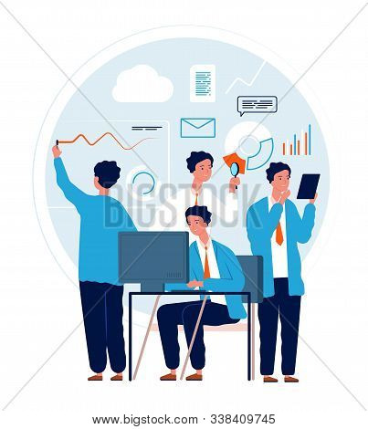 Multitask Concept. Businessman Making Different Deals And Goals Busy Manager In Action Urgent Tasks