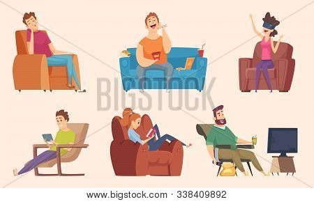 Sedentary Lifestyle. Man And Woman Sitting Relaxing Eating Food Lazy Working Fat Unhealthy Character