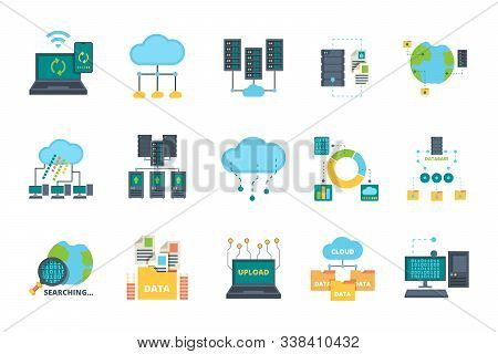 Database Icons. Server Cloud Management Network Processes Security Computer Bases Online Vector Flat