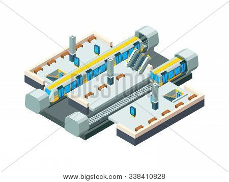 City Metro Station. Urban Subway Tunnel With Railway Train Vector Isometric Low Poly Station Backgro
