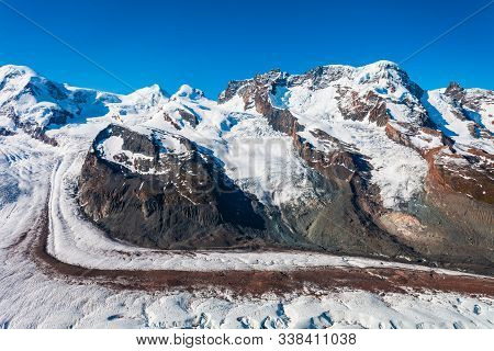 Monte Rosa Mountain Massif And Gorner Glacier Panoramic View From The Gornergrat Viewpoint Near Zerm