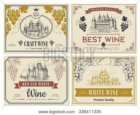 Wine Labels. Vintage Images For Labels Old Medieval Castles And Towers Architectural Objects Vector