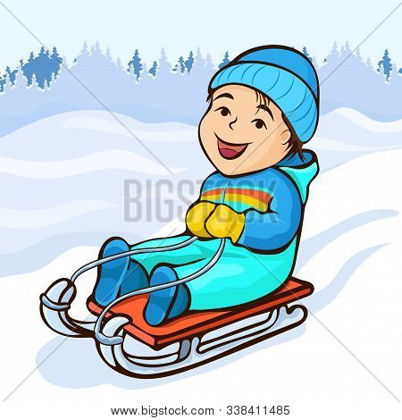 Boy Sledding, Cartoon Character, Hand Drawing, Winter Kids Fun. Cute Happy Child In Blue Jumpsuit Jo