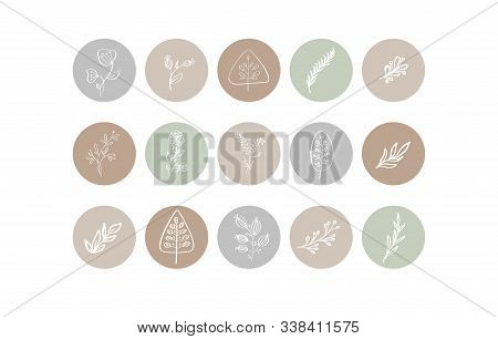 Highlight Cover Icon. Highlight Story Natural. Hand Drawn Floral Logo. Logo Template For Photographe