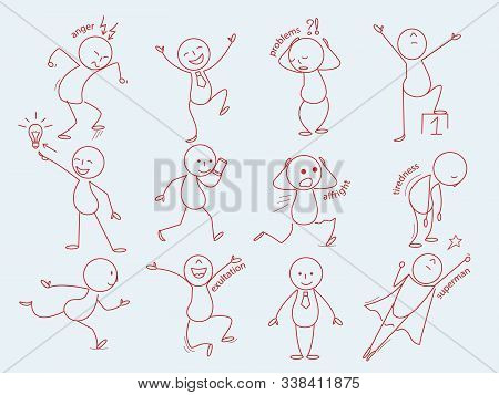 Stickman Characters. Business Person In Doodle Style Cute Expressions Man Funny Poses Office Manager