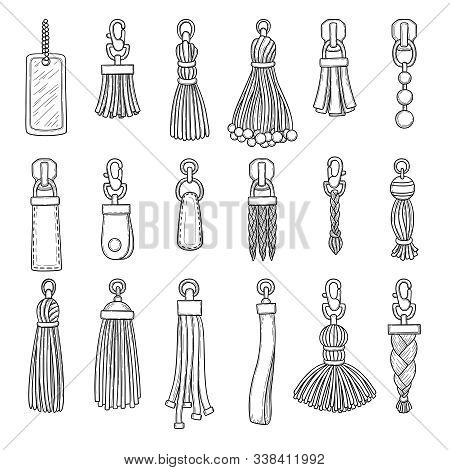 Leather Accessories. Handbag Fringes Trinket Vector Fashioned Items Collection. Illustration Pendant
