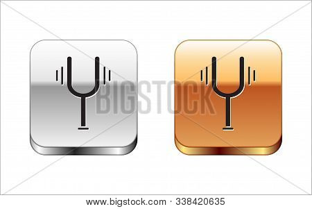 Black Musical Tuning Fork For Tuning Musical Instruments Icon Isolated On White Background. Silver-g