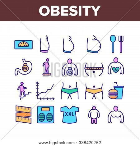 Obesity And Overweight Collection Icons Set Vector Thin Line. Obesity Person And Xxl T-shirt, Unheal