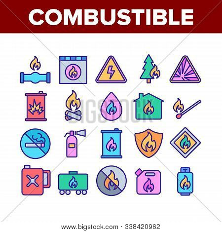 Combustible Products Collection Icons Set Vector Thin Line. Burning Gaz From Pipe, Flame On Mark And