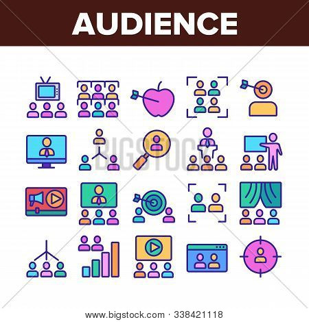 Audience Social Group Collection Icons Set Vector Thin Line. Human On Computer Screen And Magnifier,