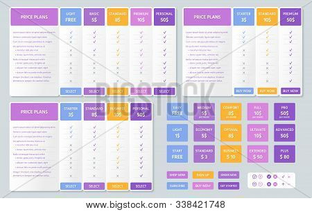 Table Price Comparison. Vector. Chart Plan Template. Set Web Pricing Grids For Purchases, Business,
