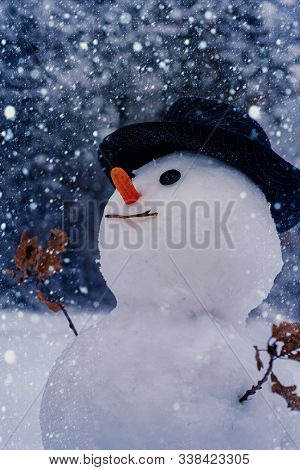 Happy Snowman Standing In Winter Christmas Landscape. Snowman Isolated On Snow Background. Snowman A