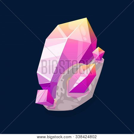Pink Rock Gem, Purple Mineral Isolated On Dark Blue. Vector Crystalline Stone Or Gemstone Sapphire.