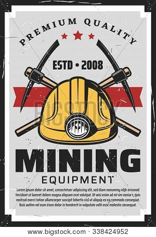 Mining Equipment, Miners Helmet With Lamp And Crossed Axe-picks. Vector Retro Mining Industry, Coal,