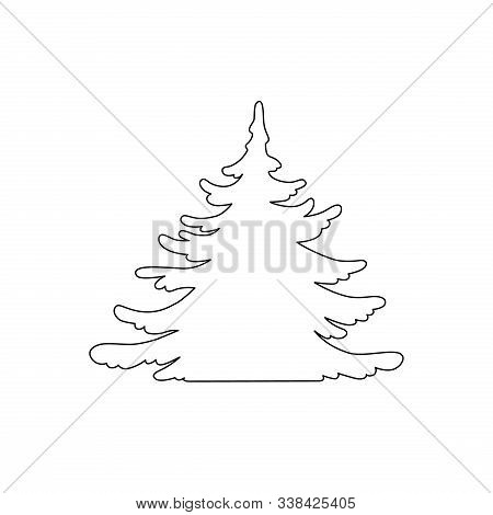 Pine Tree Vector Silhouette. Hand Drawn Stylized Monochrome Illustration Isolated On White Backgroun