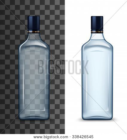 Glass Vodka Bottle Mockup With Black Cap Isolated On White And Transparent. Vector High Spirit Alcoh